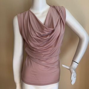 L.A.M.B. dusty rose drape neck blouse